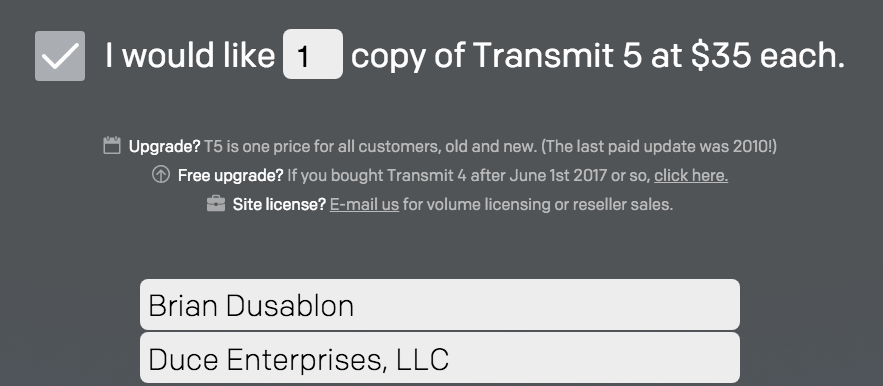 transmit purchase form completed with Brian Dusablon and Duce Enterprises, LLC showing $35 sale price