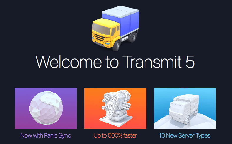 transmit welcome screen showing the famous truck icon and new servers and speed boosts
