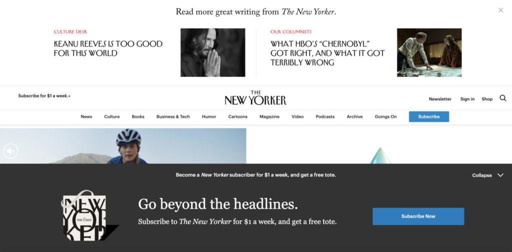 Screenshot of New Yorker website with popups and ads everywhere.