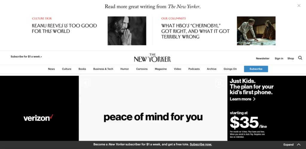 Screenshot of New Yorker website with autoplay video ad.