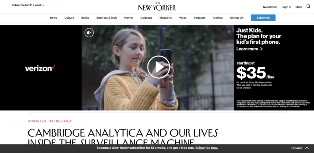 Screenshot of New Yorker website with autoplay video ad and a small piece of the actual written content from the article showing.