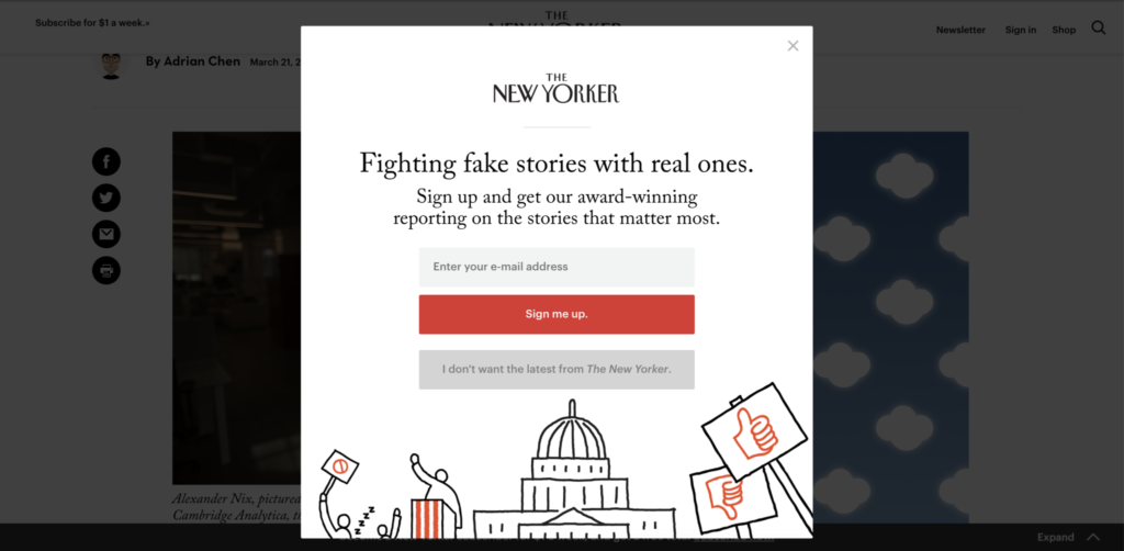 Screenshot of New Yorker website with popup subscribe form blocking all the content I want to read.