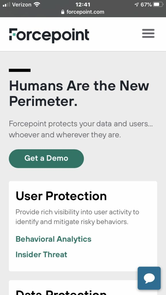 Screenshot of Forcepoint's mobile site, with simple text stacked and a closed chatbot icon.